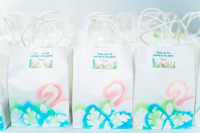 Flamingo Favor Bags from a Tropical Flamingo Birthday Party on Kara's Party Ideas | KarasPartyIdeas.com (5)