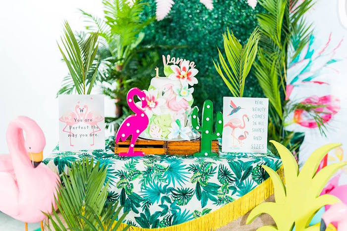 Cake Table from a Tropical Flamingo Birthday Party on Kara's Party Ideas | KarasPartyIdeas.com (4)
