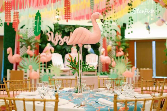 Flamingo Guest Table from a Tropical Flamingo Birthday Party on Kara's Party Ideas   KarasPartyIdeas.com (27)
