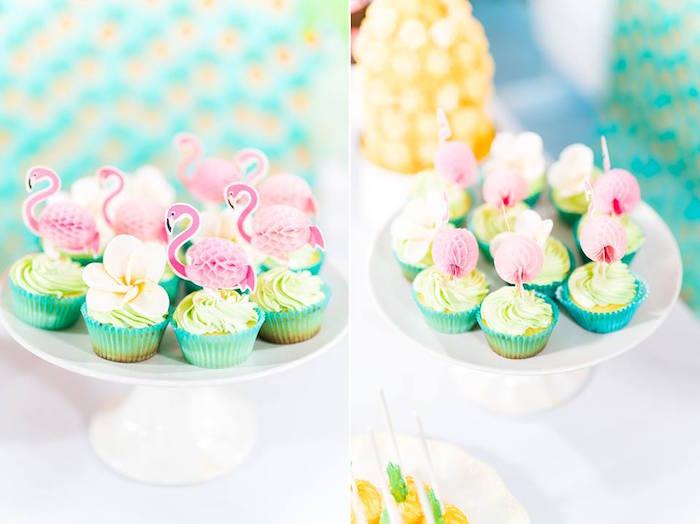 Flamingo Cupcakes from a Tropical Flamingo Birthday Party on Kara's Party Ideas | KarasPartyIdeas.com (30)