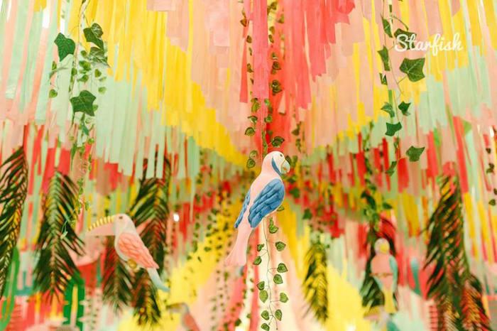 Tropical Bird Ceiling from a Tropical Flamingo Birthday Party on Kara's Party Ideas   KarasPartyIdeas.com (25)