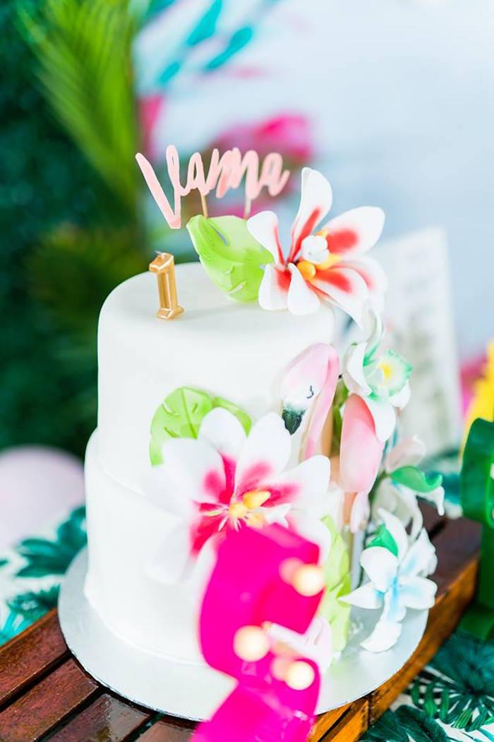 Tropical Flamingo Cake from a Tropical Flamingo Birthday Party on Kara's Party Ideas | KarasPartyIdeas.com (28)