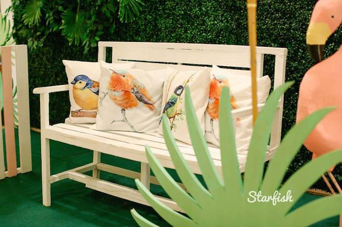 Bird Lounge from a Tropical Flamingo Birthday Party on Kara's Party Ideas   KarasPartyIdeas.com (24)