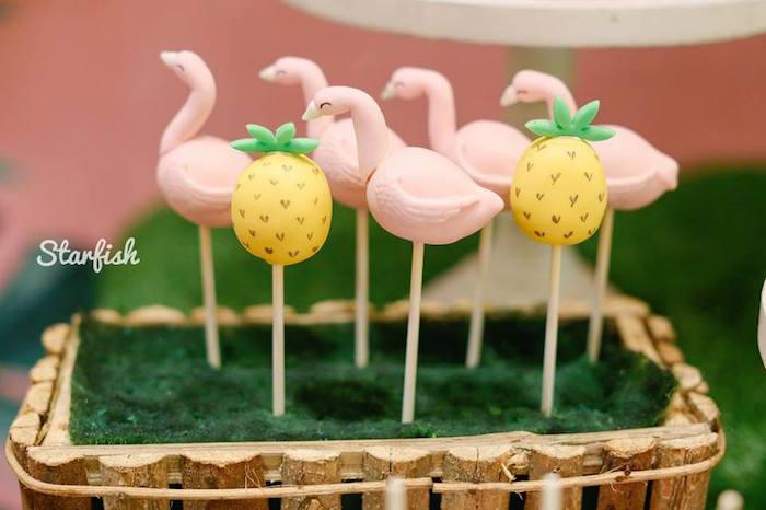 Flamingo + Pineapple Cake Pops from a Tropical Flamingo Birthday Party on Kara's Party Ideas   KarasPartyIdeas.com (23)