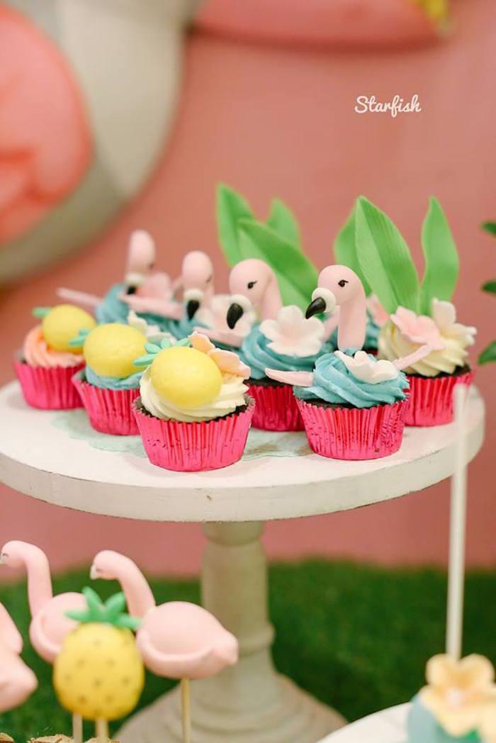 Tropical + Flamingo Cupcakes from a Tropical Flamingo Birthday Party on Kara's Party Ideas   KarasPartyIdeas.com (20)