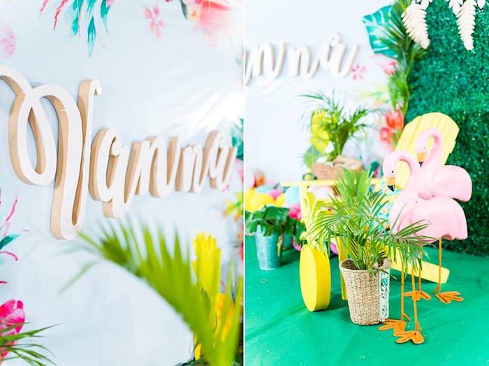 Tropical Decor from a Tropical Flamingo Birthday Party on Kara's Party Ideas | KarasPartyIdeas.com (23)