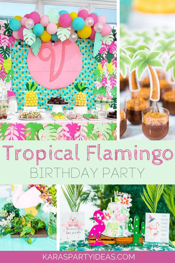 Tropical Flamingo Birthday Party via KarasPartyIdeas - KarasPartyIdeas.com