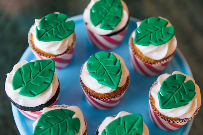 Tropical Leaf Cupcakes from a Tropical Flamingo Pool Party on Kara's Party Ideas | KarasPartyIdeas.com (22)
