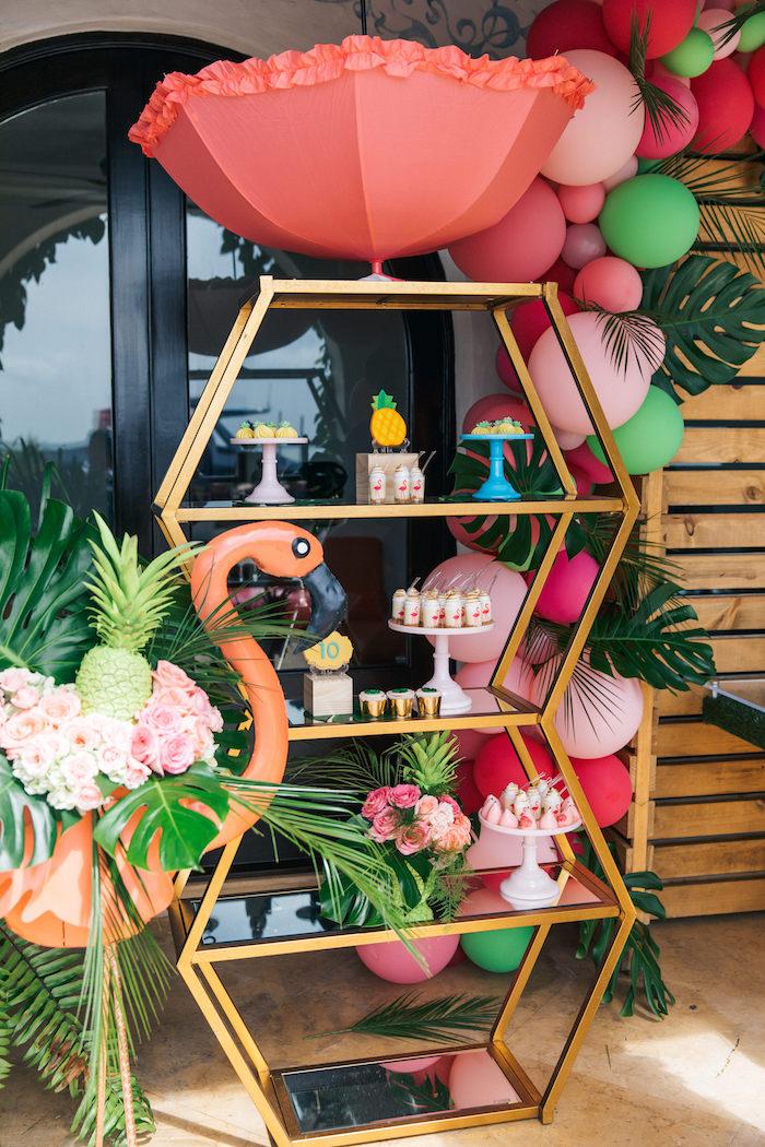 Geometric Dessert Shelf from a Tropical Flamingo Pool Party on Kara's Party Ideas | KarasPartyIdeas.com (21)