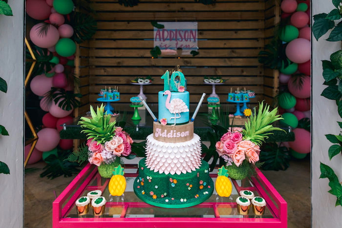 Cake Table from a Tropical Flamingo Pool Party on Kara's Party Ideas | KarasPartyIdeas.com (17)