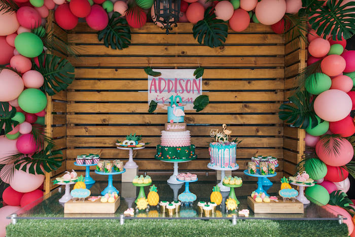 Dessert Table from a Tropical Flamingo Pool Party on Kara's Party Ideas | KarasPartyIdeas.com (13)