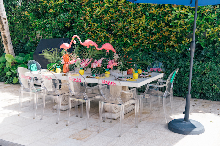 Flamingo Guest Table from a Tropical Flamingo Pool Party on Kara's Party Ideas | KarasPartyIdeas.com (12)