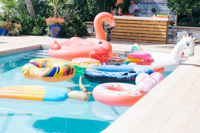 Pool of Floaties from a Tropical Flamingo Pool Party on Kara's Party Ideas | KarasPartyIdeas.com (34)