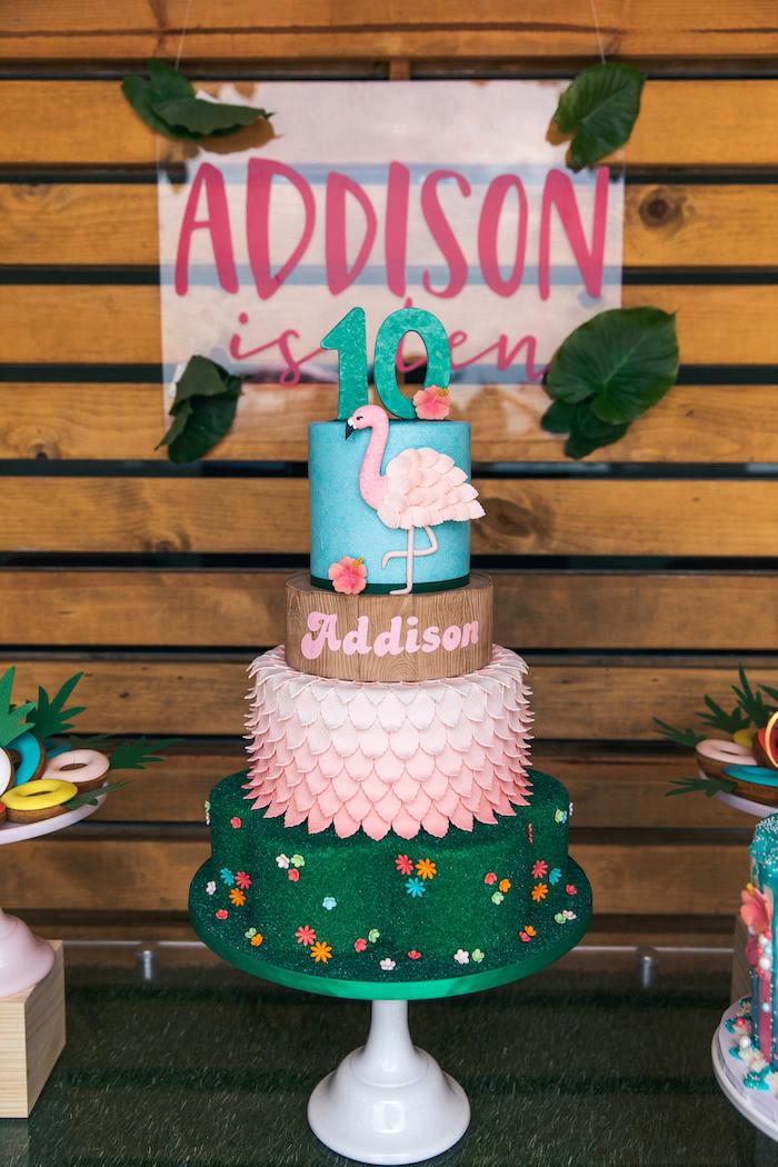 Flamingo Cake from a Tropical Flamingo Pool Party on Kara's Party Ideas | KarasPartyIdeas.com (32)