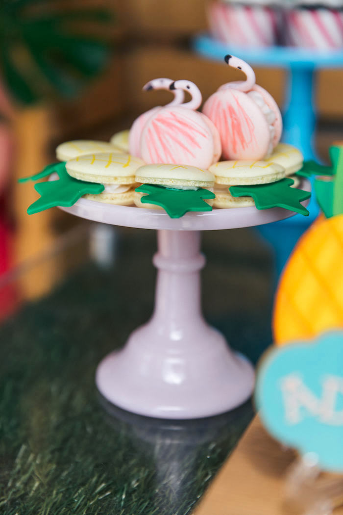 Flamingo & Pineapple Macarons from a Tropical Flamingo Pool Party on Kara's Party Ideas | KarasPartyIdeas.com (28)