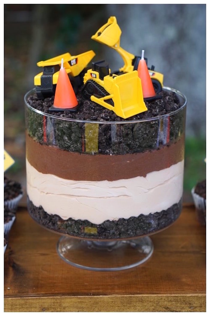Construction Oreo Dirt Cake from an Under Construction Birthday Party on Kara's Party Ideas | KarasPartyIdeas.com (23)