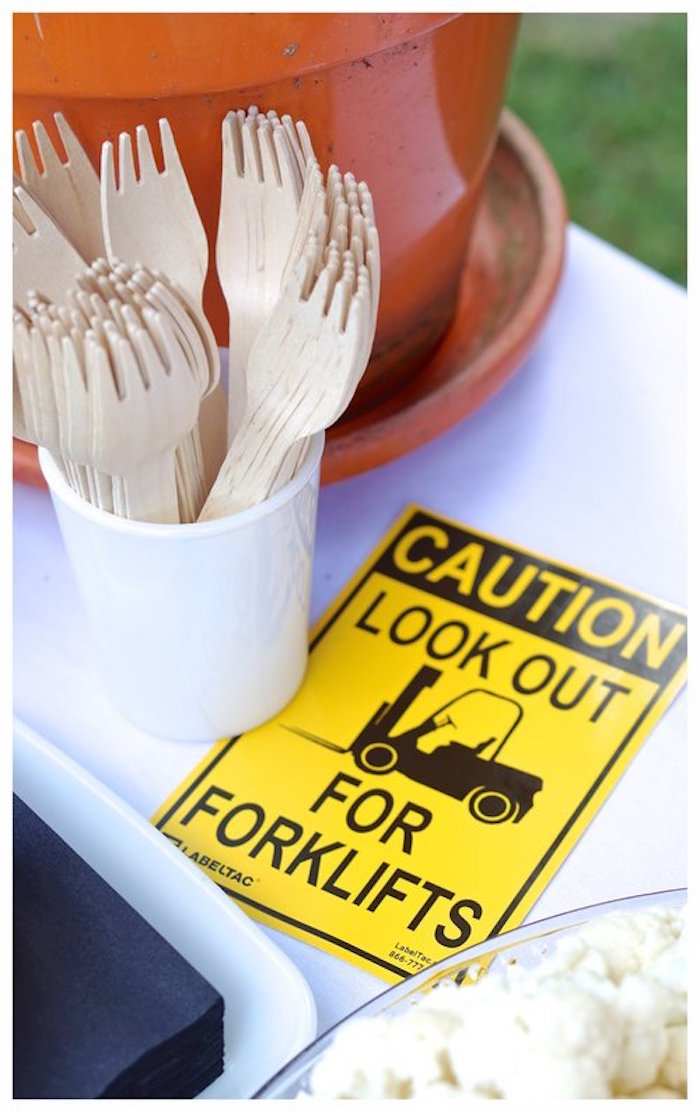 Caution Sign + Wooden Utensils from anUnder Construction Birthday Party on Kara's Party Ideas | KarasPartyIdeas.com (21)