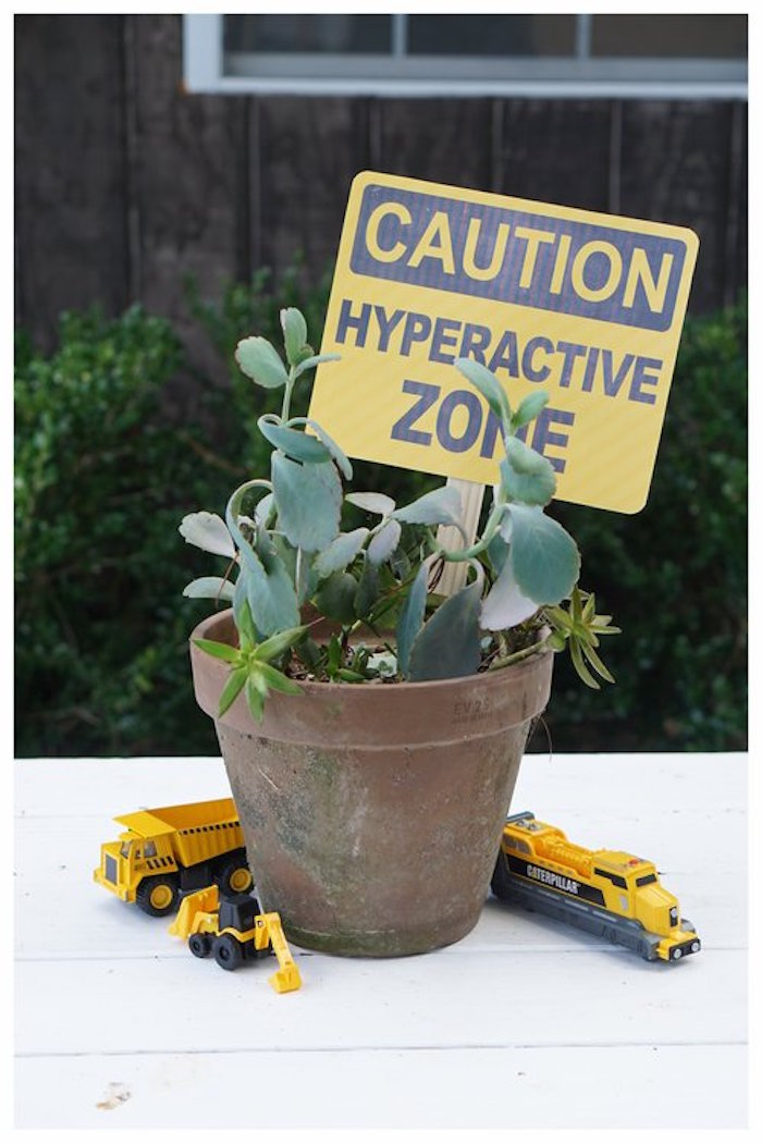 Construction Themed Plant Table Centerpiece from an Under Construction Birthday Party on Kara's Party Ideas | KarasPartyIdeas.com (19)
