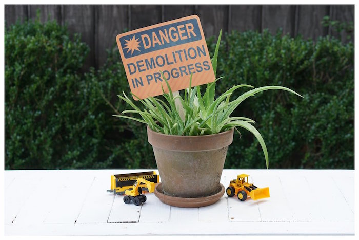 Construction Themed Plant Table Centerpiece from an Under Construction Birthday Party on Kara's Party Ideas | KarasPartyIdeas.com (18)