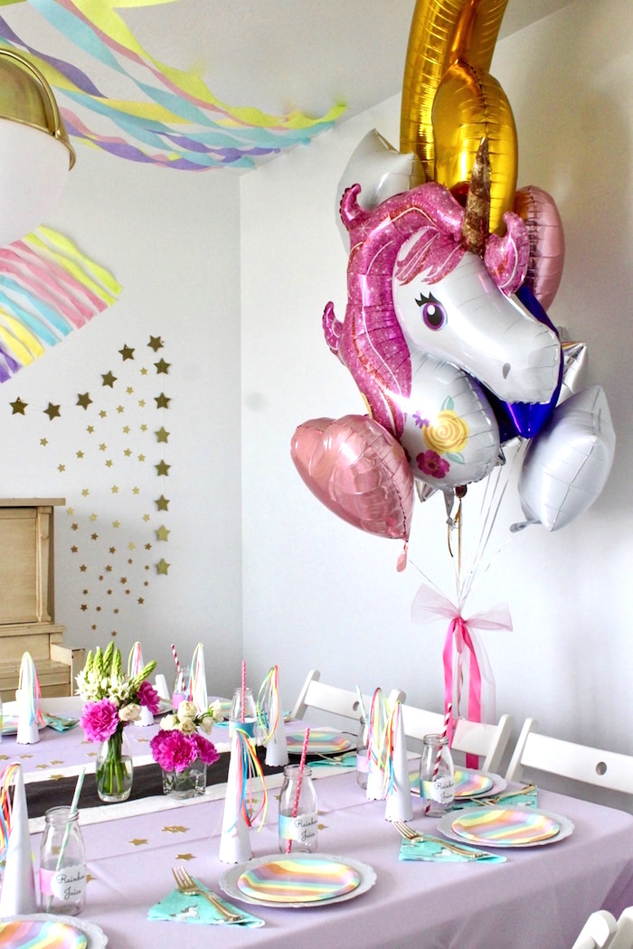 Guest Table + Party Spread from a Unicorn Birthday Party on Kara's Party Ideas | KarasPartyIdeas.com (15)