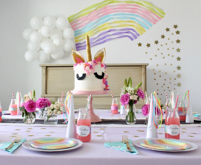 Unicorn Party Table from a Unicorn Birthday Party on Kara's Party Ideas | KarasPartyIdeas.com (13)