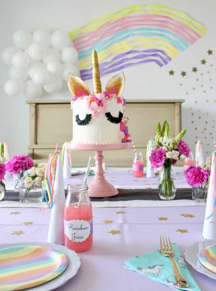 Unicorn Cakescape from a Unicorn Birthday Party on Kara's Party Ideas | KarasPartyIdeas.com (11)