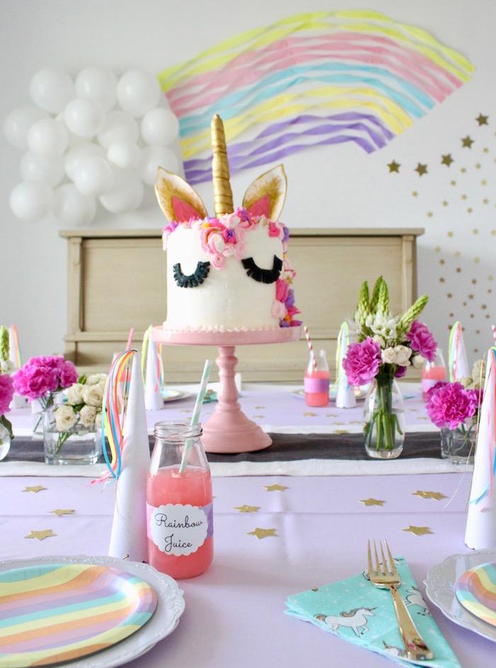 Unicorn Cakescape from a Unicorn Birthday Party on Kara's Party Ideas | KarasPartyIdeas.com (11)