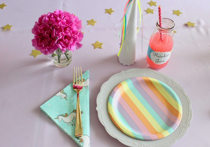 Pastel Unicorn Place Setting from a Unicorn Birthday Party on Kara's Party Ideas | KarasPartyIdeas.com (10)
