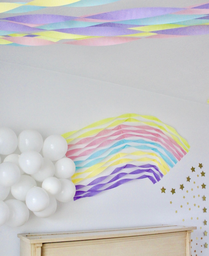 Rainbow Balloon Tissue Tassel Decoration from a Unicorn Birthday Party on Kara's Party Ideas | KarasPartyIdeas.com (9)