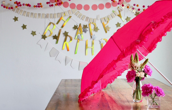 Pink Umbrella Party Table from a Unicorn Birthday Party on Kara's Party Ideas | KarasPartyIdeas.com (6)