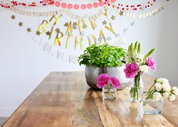 Flower-filled Party Table from a Unicorn Birthday Party on Kara's Party Ideas | KarasPartyIdeas.com (5)