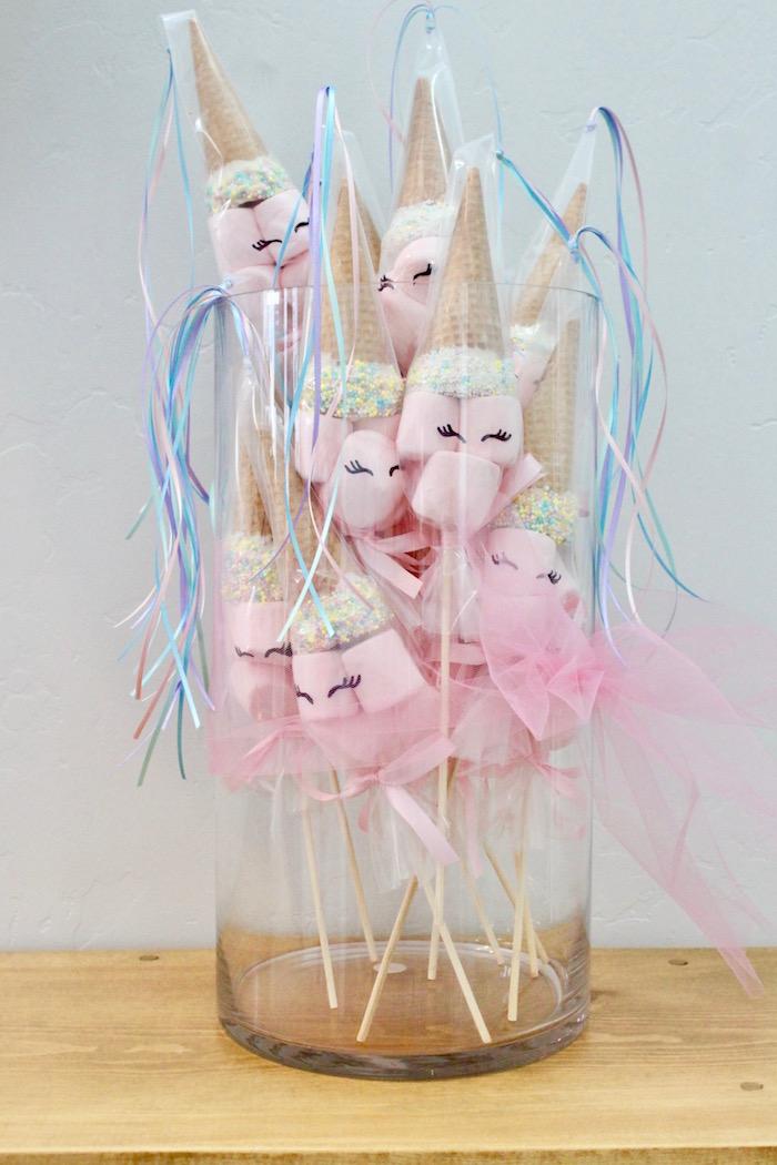 Unicorn Marshmallow Pops from a Unicorn Birthday Party on Kara's Party Ideas | KarasPartyIdeas.com (4)