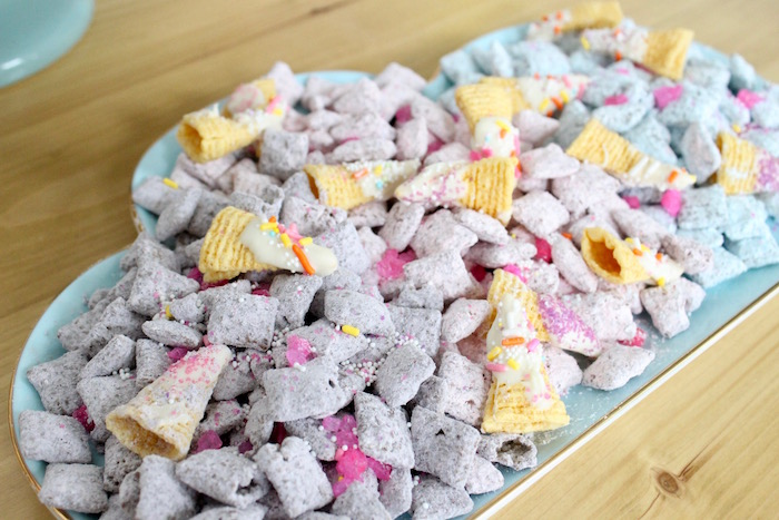Unicorn Muddy Buddies from a Unicorn Birthday Party on Kara's Party Ideas | KarasPartyIdeas.com (23)