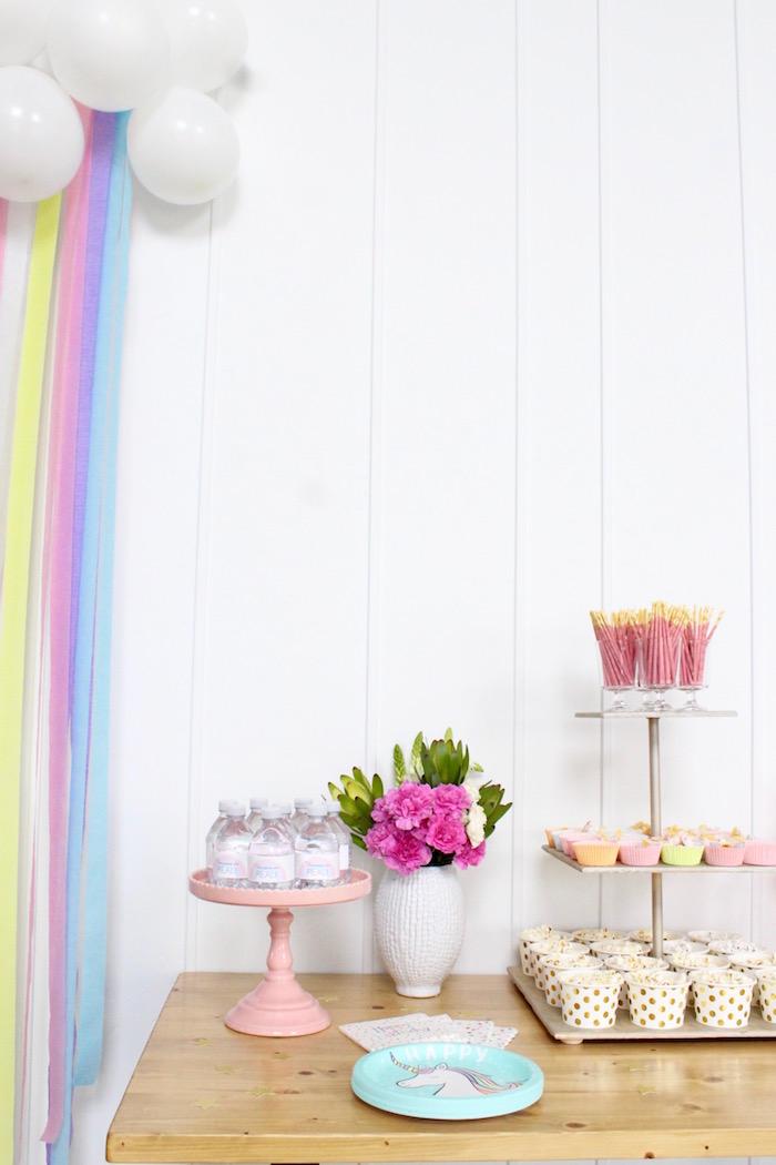 Unicorn Party Table from a Unicorn Birthday Party on Kara's Party Ideas | KarasPartyIdeas.com (19)