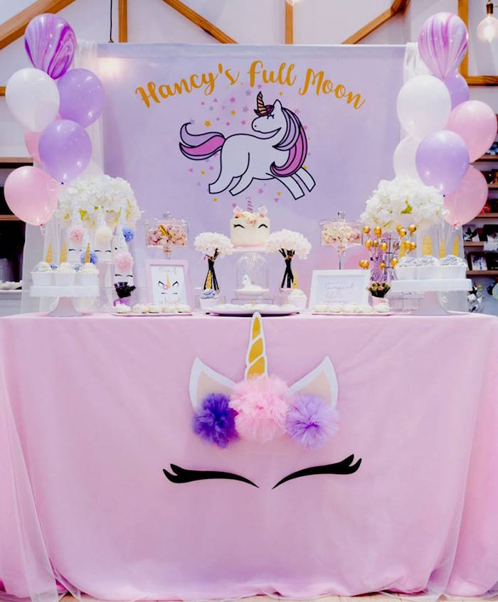 Unicorn Dessert Table from a Unicorn Themed Full Moon (One Month) Party on Kara's Party Ideas | KarasPartyIdeas.com (8)