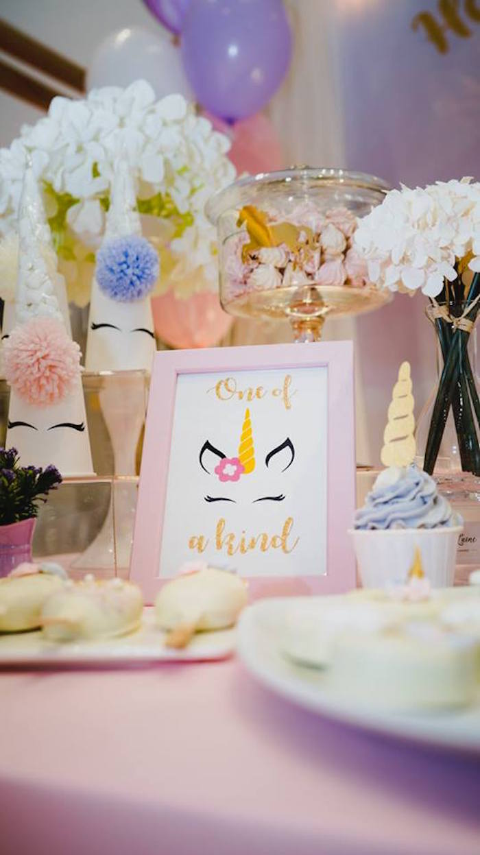 Unicorn Print + Signage from a Unicorn Themed Full Moon (One Month) Party on Kara's Party Ideas | KarasPartyIdeas.com (7)