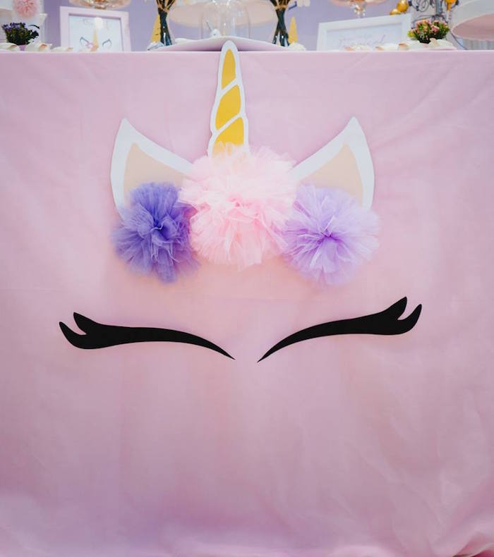 Unicorn Table Cover from a Unicorn Themed Full Moon (One Month) Party on Kara's Party Ideas | KarasPartyIdeas.com (6)