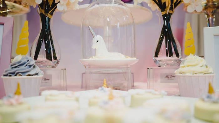 Domed Unicorn from a Unicorn Themed Full Moon (One Month) Party on Kara's Party Ideas | KarasPartyIdeas.com (4)