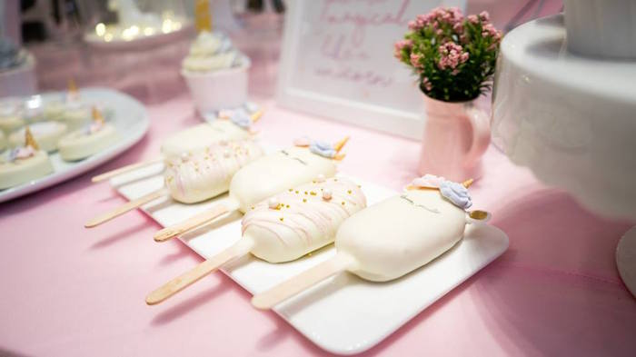 Unicorn Cake Popsicles from a Unicorn Themed Full Moon (One Month) Party on Kara's Party Ideas | KarasPartyIdeas.com (17)