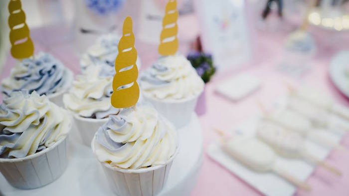 Unicorn Cupcakes from a Unicorn Themed Full Moon (One Month) Party on Kara's Party Ideas | KarasPartyIdeas.com (14)