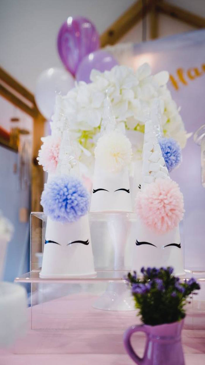 Pom Unicorn Cups from a Unicorn Themed Full Moon (One Month) Party on Kara's Party Ideas | KarasPartyIdeas.com (13)