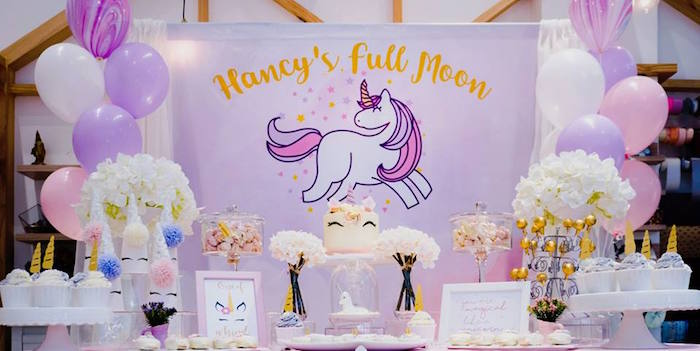 Unicorn Themed Dessert Table from a Unicorn Themed Full Moon (One Month) Party on Kara's Party Ideas | KarasPartyIdeas.com (11)