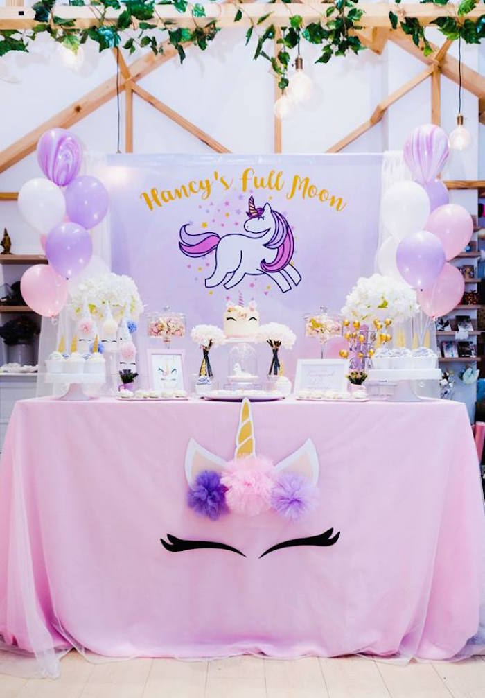 Unicorn Themed Full Moon (One Month) Party on Kara's Party Ideas | KarasPartyIdeas.com (10)