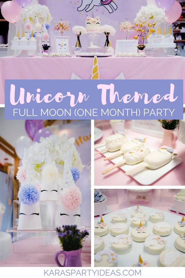 Unicorn Themed Full Moon (One Month) Party via KarasPartyIdeas - KarasPartyIdeas.com (1)
