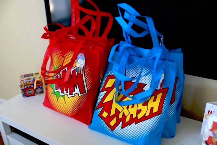 Superhero Favor Bags from a Vintage Comic Book Superhero Party on Kara's Party Ideas | KarasPartyIdeas.com (19)