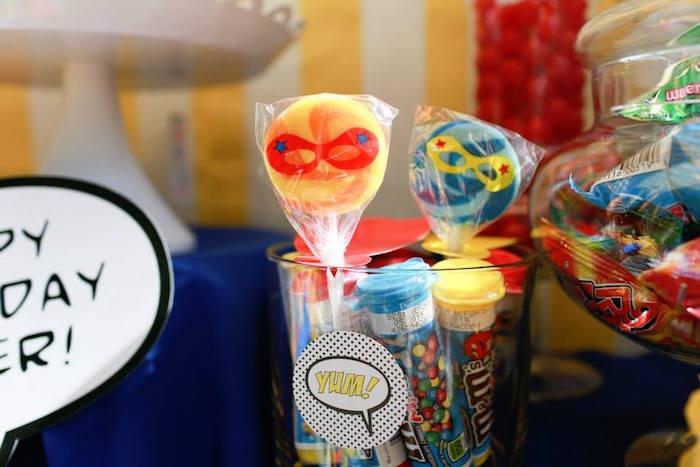 Superhero Lollipops from a Vintage Comic Book Superhero Party on Kara's Party Ideas | KarasPartyIdeas.com (17)