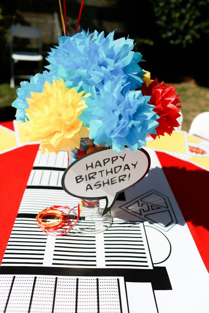 Guest Table Decor + Mono Runner from a Vintage Comic Book Superhero Party on Kara's Party Ideas | KarasPartyIdeas.com (15)