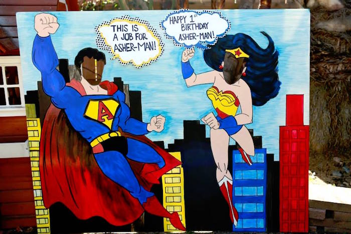 Superman + Wonder Woman Photo Board from a Vintage Comic Book Superhero Party on Kara's Party Ideas | KarasPartyIdeas.com (14)