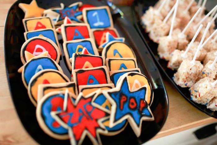 Superhero Cookies from a Vintage Comic Book Superhero Party on Kara's Party Ideas | KarasPartyIdeas.com (31)