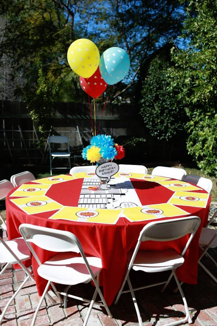 Guest Table from a Vintage Comic Book Superhero Party on Kara's Party Ideas | KarasPartyIdeas.com (5)